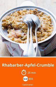 Rhabarber-Apfel-Crumble - 455 kcal - schnelles Rezept - einfaches Gericht - So gesund ist das Rezept: 5,9/10   Eine Rezeptidee von EAT SMARTER   Rhabarber-Streuselkuchen, Tarte, Hausmannskost, Ländlich, Dessert, Rhabarber-Dessert, Crumble, Rhabarber-Crumble, Apfel-Crumble #fruchtgemüse #rezepte
