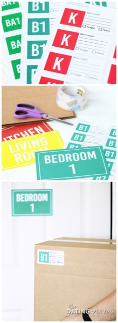 PRINTABLE Moving stickers and signs to stay organized- love, love, LOVE!!!