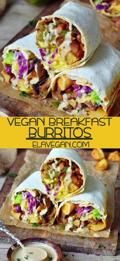 These vegan breakfast burritos are loaded with roasted potatoes, avocado, mushrooms, and peppers. They are great for a healthy protein-packed breakfast or brunch! Furthermore, they are easy to make wi Low Carb Vegan Breakfast, Protein Packed Breakfast, Savory Breakfast, Healthy Breakfast Recipes, Healthy Recipes, Vegan Brunch Recipes, Breakfast Burrito Healthy, Avocado Breakfast, Healthy Burritos