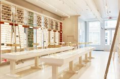 Warby Parker's goddamn beautiful Greene Street flagship store in Soho, New York. Oh my God.