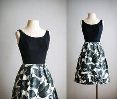 50s 60s dress / 1950s cotton floral dress / Sketch Work dress on Etsy, $112.00