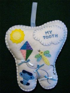 BOYS HAND~MADE FELT TOOTH FAIRY PILLOW WITH AIRPLANE, DRAGONFLY & SUN FROM THE CHRISTMAS WINDOW