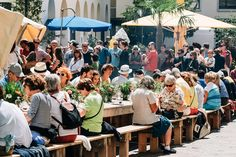 The Tavolata is set up in the heart of the pedestrian zone of St. Moritz. Photo…