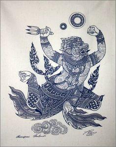 Art traditionnel thaïlandais de Hanuman par sérigraphie sur tissu de couleurs naturelles.(Bleu)