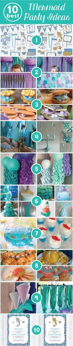 Mermaid Party: Top 10 ideas for a perfect bash under the sea! Little Mermaid Birthday, Little Mermaid Parties, 4th Birthday Parties, Birthday Ideas, 3rd Birthday, Parties Kids, 1st Birthdays, Tea Parties, Festa Party