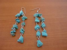 Natural Real Blue Turquoise Stone Earringgs Handmade Tassels Long Dangle Unique DIY