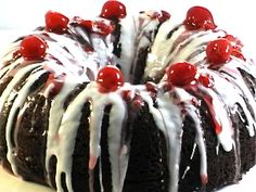 Dazzling, Skinny Chocolate Cherry Bundt Cake!  Deep dark chocolate batter embraces chunks of ruby-colored cherries in this elegant cake. This is another one of my �no time to bake� cakes because I�m starting with a cake mix. Although there are a lot of ingredients this super chocolaty cake is so easy to prepare. One skinny slice has 286 calories and 6 grams of fat per serving.