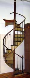 Dimension: 44(W) 143(H) 44(D)   Material: chestnut  Location: MCT  Note: Spiral staircase. Floor to top of top step 117in. Floor to top of center pole 143in.  Price: Call for Price  Quantity: 1  Status: avail  Price Type: set