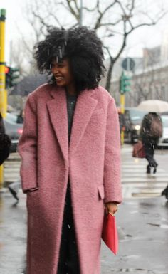Julia Sarr-Jamois in a pink coat