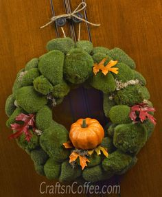 Moss Rock & Pumpkin Fall Wreath  - easy to do and I hope to change it up for spring. Tutorial on CraftsnCoffee.com.