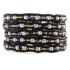 Chan Luu - Clear Quartz and Crystal Wrap Bracelet on Natural Black Leather, $170.00 (http://www.chanluu.com/wrap-bracelets/clear-quartz-and-crystal-wrap-bracelet-on-natural-black-leather/)