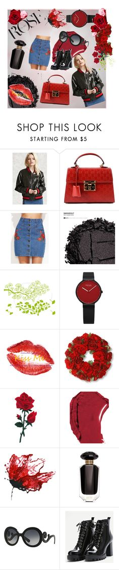 """Patent Leather: Black Rose"" by annalee-c ❤ liked on Polyvore featuring Love 21, Gucci, Urban Decay, National Tree Company, Chanel, Victoria's Secret and Prada"