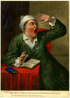 Satire: a man wearing a dressing-gown and white night-cap seated reading a book of 'Sleepy Sermons' beside a table, twisting to right and yawning with one hand raised in the air, c.1771. © The Trustees of the British Museum