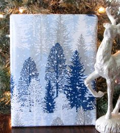Blue Metalic Silver and White Winter Forest by CMWrapNShipSupply