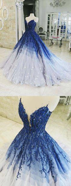 A-line Ombre Prom Dress With Applique Royal Blue Prom Dresses Long Evening Dress. A-line Ombre Prom Dress With Applique Royal Blue Prom Dresses Long Evening Dress… A-lijn Ombre galajurk met applique koningsblauwen galajurken Lange avondjurk op Storenvy Ombre Prom Dresses, Royal Blue Prom Dresses, Blue Ball Gowns, Pretty Prom Dresses, Quince Dresses, Ball Dresses, Elegant Dresses, Formal Dresses, Dress Prom