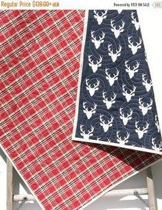 Sale Deer Baby Quilt Plaid Flannel Modern Bedding Crib Cot