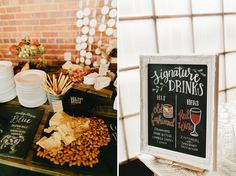 Ellen & Bruce Urban Fairytale Wedding Wedding at Blanc in Denver with a hand painted signature drink bar sign - custom wedding signage - old fashioned and red wine