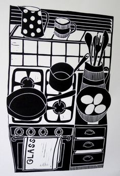 Lino print by #JanBrewerton titled 'Cooking with Eggs'. Wish I had this eye for economy of line. Great shapes!