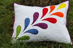 Jana Dohnalová hand dyed and free motion quilted pillow with appliqué