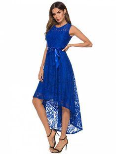 173538df41c Robe sexy à la mode en dentelle irrégulière pour femmes - Bleu S
