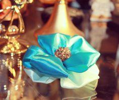 Blue Ribbon Brooch/ Handmade Blue Brooch/Brooch/ Blue by Gabiworks