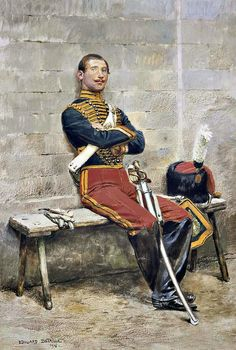 The brother of the painter in the uniform of the Guides of Napoleon III's Imperial Guardpainted by J. Military Units, Military Art, Military History, Military Fashion, Military Costumes, Military Uniforms, Edouard Detaille, French Armed Forces, Crimean War