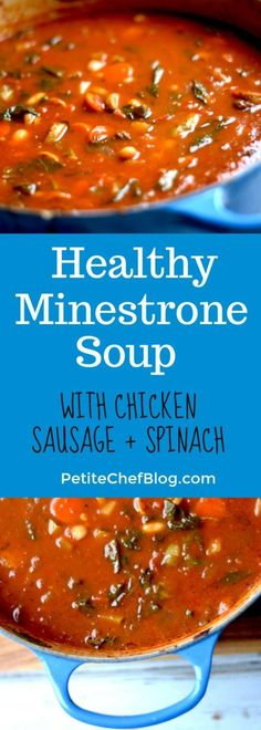 Healthy Minestrone Soup with Chicken Sausage - Recipe Sharing - Sausage Recipes Healthy Crockpot Recipes, Healthy Dinner Recipes, Soup Recipes, Yummy Recipes, Healthy Soups, Healthy Eating, Healthy Dinners, Healthy Chicken, Free Recipes