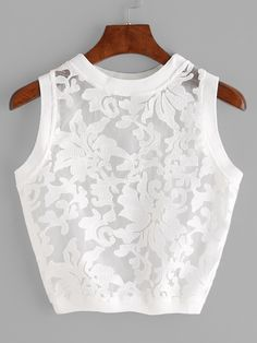 Crop Tank Decorated with Contrast Mesh. Designed with Round Neck. Slim fit. Plain design. Trend of Summer-2018. Designed in White. Fabric has no stretch.