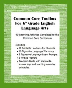 Tpt free common core state standards ela ebook resource filled with common core toolbox for 6th grade english language arts 40 learning activities correlated to the common core curriculum fandeluxe Gallery