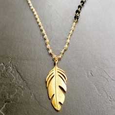 Crystal Quartz, Lava and 24K Gold Feather Necklace