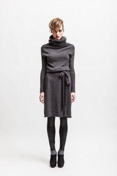 Grey alpaca wool blend turtleneck dress.