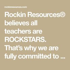 Rockin Resources® believes all teachers are ROCKSTARS. That's why we are fully committed to create engaging STEP-BY-STEP™ teaching tools to inspire. Teaching Tools, Teacher Resources, Reading Comprehension Skills, Filmmaking, Believe, Inspire, Writing, Rock, Create