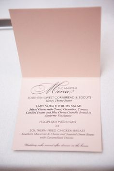 Love this idea... (placecard with menu) Modern Blush Spring Wedding  Wedding Real Weddings Photos on WeddingWire