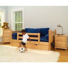 Maxtrix Kids Twin Daybed With Safety Rails & Trundle Bed - Yeah