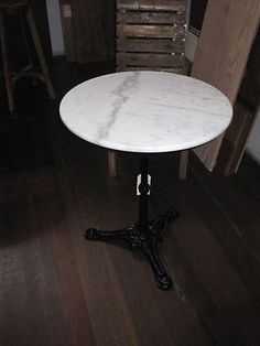 Outdoor Round Marble Top TABLE - Petite 60cm across Cast Iron Base 70cm high