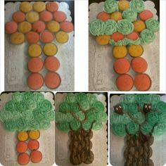 My rose tree, cupcakes along with two owl cakepops. 3 diff shades of green nd two shades of brown.