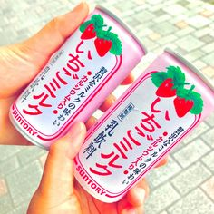 SUNTORY Strawberry Milk Nectar 3 Cans x 190g - Made in Japan - TAKASKI.COM Japanese Drinks, Japanese Snacks, Strawberry Juice, Soda Drink, Barley Grass, Sports Drink, Milk Cans, Milk Tea, Mixed Drinks
