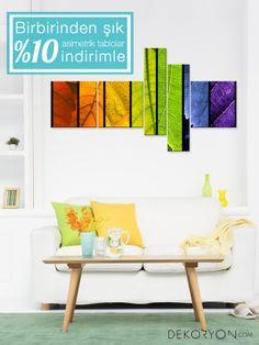 Evinize farklı renk ve asimetrik şekillerdeki tablolar ile renk katabilirsiniz. #dekoratiftablo #dekorasyonfikirleri