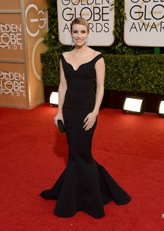 Emma wore Alber Elbaz's custom black techno matte stretch gown.