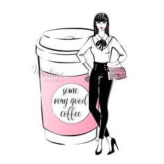 Stylish illustrations to kick off your new week featuring Monday coffee girl and her adventures. Coffee Meme, Coffee Barista, Coffee Latte, Coffee Sayings, Cozy Coffee, Coffee Scrub, Iced Coffee, Coffee Drawing, Coffee Painting