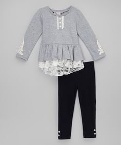 Look at this Gray Lace Ruffle Top
