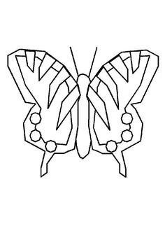 Coloriage d'un papillon avec des ailes à motifs géométriques