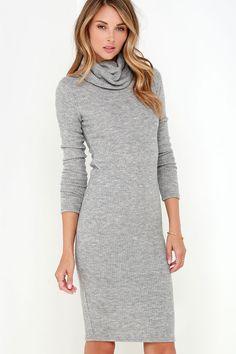 Glamorous Neck and Neck Grey Long Sleeve Sweater Dress at Lulus.com!