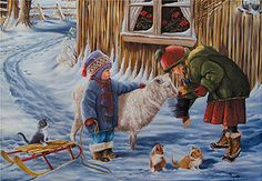 ❤️De Ginette Paquette Photos, Pictures, Winter Wonderland, Sheep, Images, Children, Illustration, Paintings, Drawings