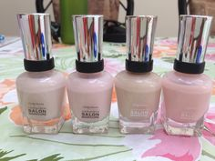 Sally Hansen Complete Salon Manicure-their finest colours! From left to right: sheer ecstasy, shell we dance, almost almond, sweet talker. Gorgeous for spring and fall! Nail Polish Dupes, Nail Polish Brands, Nail Polish Art, Nail Polish Colors, Nail Art, Nail Polishes, Manicures, Uv Gel Nails, Diy Nails