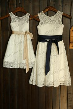 Lace Flower Girl Dress with Champagne/Navy Blue Sash Wedding Children Easter Bridesmaid Communion Baptism Dress