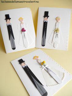 Bride & Groom Card using tongue depressors. Wedding Cards Handmade, Card Box Wedding, Wedding Doll, Wedding Art, Handmade Crafts, Diy And Crafts, Ultimate Wedding Gifts, Family Presents, Crafts For Seniors