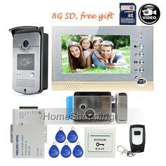"FREE SHIPPING New 7"" Screen Recording Video Intercom Door Phone System + Outdoor RFID Access Door Camera + Electric Lock + 8G SD"