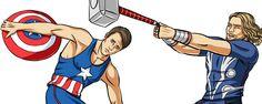 Bem atual a série criada pelo ilustrador Ira Scargeer, medalha de ouro.    Para entrar no 'pique' de Londres 2012, ele criou divertidos desenhos da patota dos 'Vingadores', da Marvel.