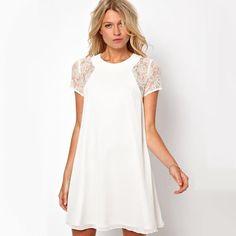 Short Sleeve Lace Chiffon Dress/Tunic
